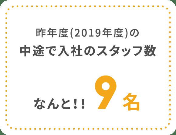昨年度(2019年度)の中途で入社のスタッフ数なんと!!9名
